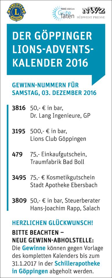 Adventskalender 2016: Gewinne - Lions Club Göppingen